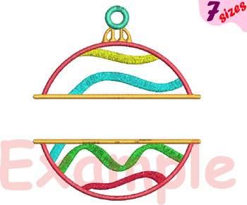 Christmas Balls Embroidery Design Chevron Frames Split Circle Ornament 138b