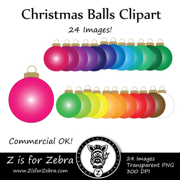 Christmas Balls/ Ornaments Clip Art - CU Ok { Z is for Zebra }