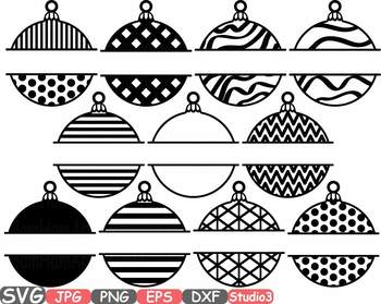 Christmas Balls & bells frames clipart New Year tree Ornament Polka Dots 685s