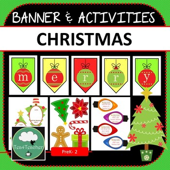 Christmas Tree Display Board.Christmas Banner Activity Pack Colorful Banner Writing Prompts Display