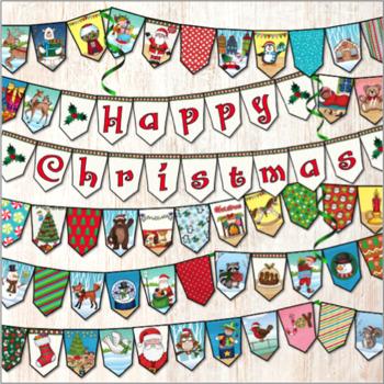 picture regarding Printable Christmas Decorations named Xmas Decorations Banner Bunting Printable