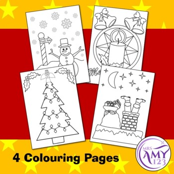 Christmas Banners and Colouring/Coloring in Pages