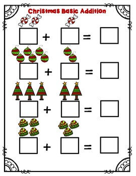 Christmas Basic Addition Math Worksheet (sums up to 10)