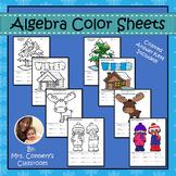 WINTER MATH | Basic Algebra Color Sheets (distribute, combine, PEMDAS)