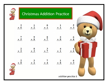 Christmas Basic Math Fact Addition and Subtraction Practice With Keys
