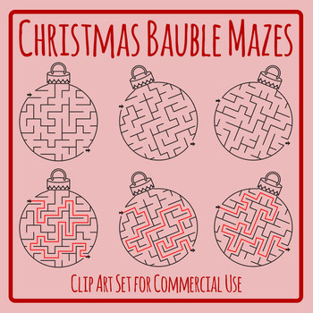 2000 uploads Freebie! Christmas Bauble Mazes Clip Art Set for Commercial Use