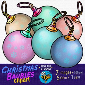 Christmas Baubles Clip Art (set 1)