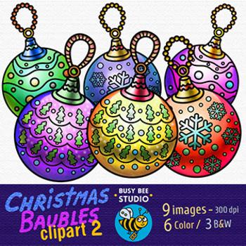Christmas Baubles Clip Art (set 2)