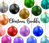 Christmas Baubles Clipart, christmas balls clip art digital graphics