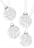 Christmas Baubles Colouring Words Worksheet