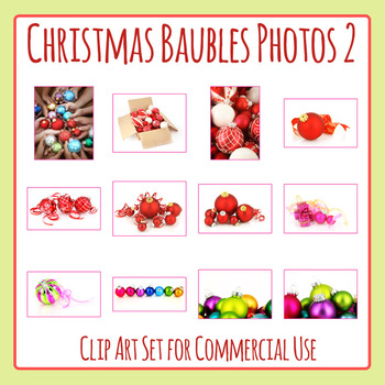 Christmas Baubles Photos / Photograph Clip Art Set for Commercial Use
