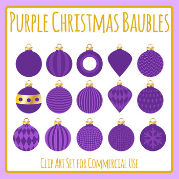 Christmas Baubles - Purple Clip Art Set for Commercial Use