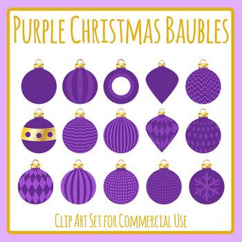 Christmas Baubles - Purple Clip Art Set for Commercial Use