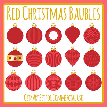 Christmas Baubles - Red Clip Art Set for Commercial Use