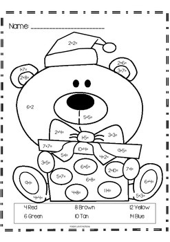 "Christmas Bear ""Addition Color by Numbers"""