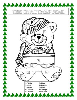 The Christmas Bear-Color by Number & Christmas Word Search- FUN Morning Work K-2