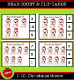 Christmas Bear Count And Clip Cards 1-10.