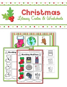 Christmas Beginning Sound Literacy Center and Worksheets