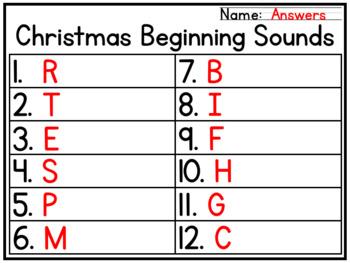 Christmas Beginning Sounds Literacy Center Activity for PreK & Kindergarten