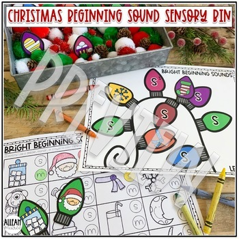 Christmas Beginning Sounds Sensory Bin Activity