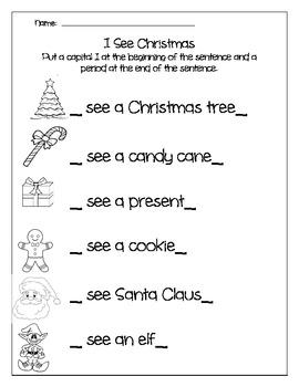 Christmas Beginning and Ending of Sentence for Kindergarten
