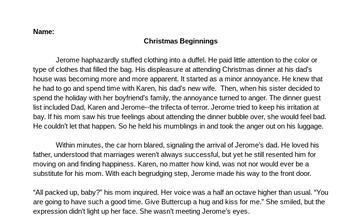 Christmas Beginnings- Test Preparation Narrative