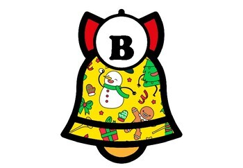 Christmas Bell Bulletin Board Set Letters + Symmetry Art Decor Printables Bundle