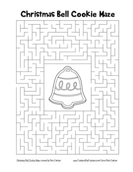 """Christmas Bell Cookie"" Maze! Holiday FUN! (Color and Black Line)"