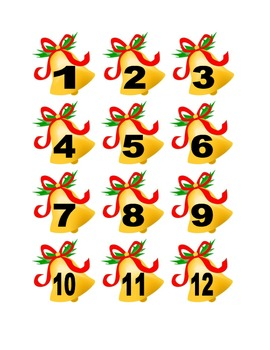 Christmas Bell Numbers for Calendar or Counting Activity