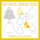 Christmas Bell Worksheet Helpers Commercial Use Clip Art Pack