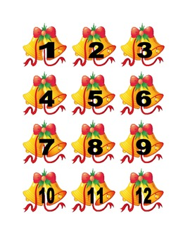 Christmas Bells Numbers for Calendar or Counting Activity