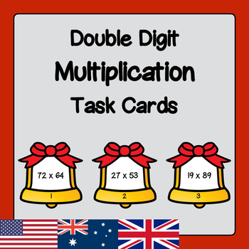 Christmas Bells Two Digit Multiplication Task Cards