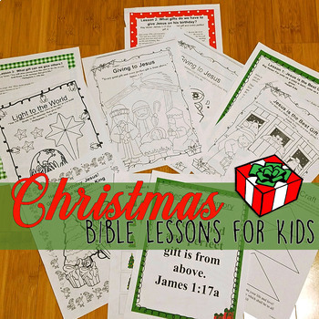 Christmas Bible NO PREP Lessons for December -Stories, Coloring, Craft, & Gift