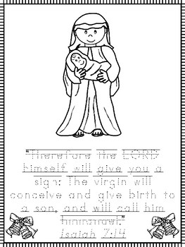 Christmas Bible Verse Color and Trace Worksheets. Preschool-1st Grade Bible  Stud