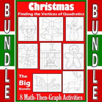 Christmas - Big Bundle - 8 Math-Then-Graph Activities - Finding Vertices