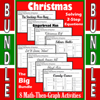 Christmas - Big Bundle - 8 Math-Then-Graph Activities - Solve 2-Step Equations