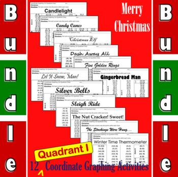 Christmas Big Bundle of 12 Quadrant I Coordinate Graphing Activities