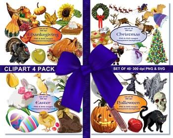 Christmas Big Pack, Digital Clip Art, Santa, Reindeer, Wreath, Christmas Tree