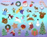 Christmas Big Pack, Digital Clip Art, Santa, Reindeer, Wre