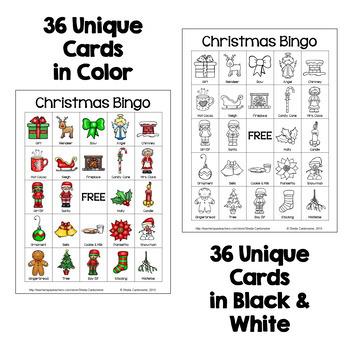 Christmas Bingo - 36 Unique Cards in Color AND Black & White