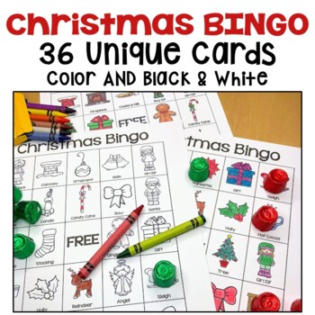 Christmas Bingo - 36 Unique Cards in Color and Black and White