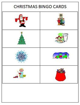 Christmas Bingo Activity: Word Recognition Using  Pictures