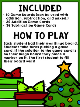 Christmas Bingo {Addition and Subtraction within 10}