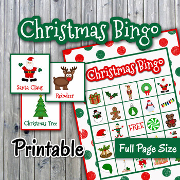 Christmas Bingo Cards.Christmas Bingo Cards And Memory Game Full Page Printable Up To 30 Players