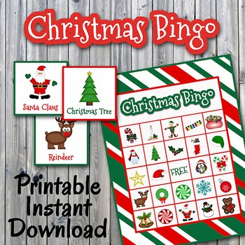 photograph relating to Printable Christmas Bingo identified as Xmas Bingo Playing cards and Memory Video game - Fifty percent Website page