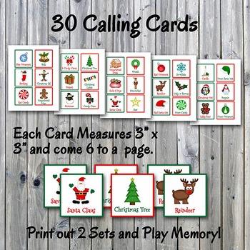 christmas bingo cards and memory game printable up to 30 players