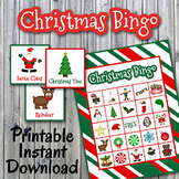 Christmas Bingo Cards and Memory Game - HALF PAGE - Printable - Up to 30 players
