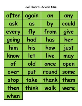 Christmas Bingo:  Dolch Grade One High Frequency Words