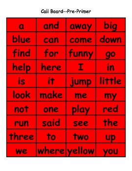 Christmas Bingo:  Dolch Pre-Primer High Frequency Words