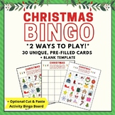 Christmas Bingo Game - 30 Unique Bingo Boards + Optional C